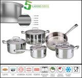 5つの層水のなく油がないステンレス鋼の調理器具セット