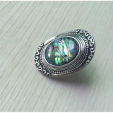 Retro Faux-Shell-Antike-Silber-Cocktail-Ring