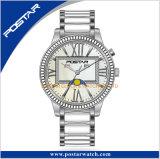 Quarz-Uhr empfindlicher Diamant-Vorwahlknopf-weiße Japan-Miyota mit Mond-Phase