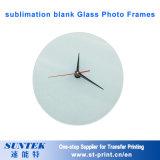 12 '' capítulos de cristal en blanco de la foto de la sublimación con el reloj