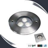 iluminação subterrânea do diodo emissor de luz de 3X3w IP67, luz da plataforma, assoalho ao ar livre - dispositivos elétricos montados