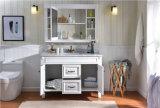 Mobília moderna de madeira contínua do banheiro das partes superiores contrárias do mármore do carvalho do único dissipador