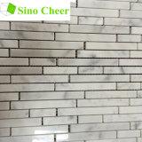Mosaico de tira al azar de piedra natural de mármol blanco de Carrara