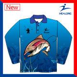 까만 색깔 로고 승화 어업 선스크린 Sweatershirts 어떤 셔츠