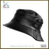 Chapéus por atacado e tampão de couro preto do chapéu da cubeta dos tampões