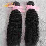 Cabelo 100% humano peruano de Remy da onda Kinky do cabelo do Virgin com cor natural