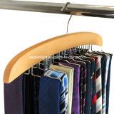 Rack de organizador de gancho de gravata de madeira - detém 24 gravatas