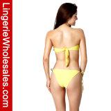 Swimwear senza bretelle sexy del Bandeau del bikini delle signore di contrasto di Bowknot a due pezzi di colore