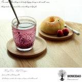 Hongdao color natural personalizado tamaño redonda bandeja de servicio de madera sólida para el alimento _E