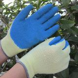 Перчатка работы руки сада безопасности перчаток голубого латекса покрытая