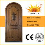 Puerta de madera moderna delantera de lujo, diseños de la puerta de madera sólida de la teca (SC-W135)