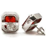 Monili rossi degli orecchini della vite prigioniera dell'argento sterlina della CZ 925 del rubino