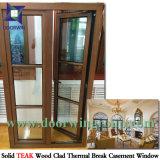 3배 윤이 나는 강화 유리 경사 & 회전 Windows, 티크 미국 클라이언트를 위한 목제 알루미늄 여닫이 창 Windows