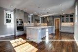 Gabinetes de cozinha cinzentos da madeira contínua com porta do abanador (WH-D569)