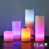 Wellenförmige Spitzenfarbe, die flammenlose LED-Pfosten-Kerze ändert