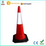cone plástico do tráfego do Crepe de 1m com base de borracha