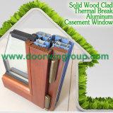 Ventana de madera de aluminio de aluminio de la ventana del marco del color de madera, europeo y americano del marco del estilo