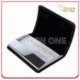 Portatarjetas de nombre del cuero genuino del negro del regalo de la promoción