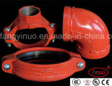 FM/UL Ductile Iron Grooved Equal Tee pour Fire Fighting Systems