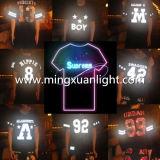 Roupa 100% da dança da luz do diodo emissor de luz do t-shirt do algodão do Ative do partido da música