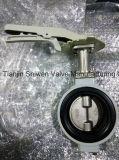 Válvula de borboleta de alumínio da bolacha do meio eixo dobro de JIS com força de alavanca