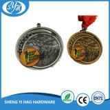 Medalla doble plateada cobre antiguo del metal del deporte de las caras 3D