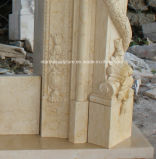 Il camino di marmo di lusso di vendita caldo di disegno nuovo con la mano ha intagliato (SY-MF150)
