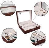 Grandes relógio do couro de Brown Croco do espaço & caixa de armazenamento da jóia
