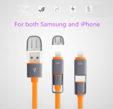 2 en 1 cable del USB para Samsung y el iPhone 6
