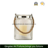 Seil Handle Round Glass Candle Lantern für Decor