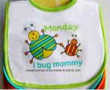 OEMの農産物はロゴによって印刷された白い綿のテリーの昇進の赤ん坊の胸当てをカスタマイズした