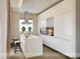 Mobília moderna da cozinha branca elevada da laca do lustro (WH-D842)