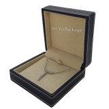 Rectángulos de joyería de cuero negros de lujo hechos a mano agradables para la joyería de la boda