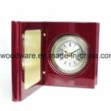 Reloj de madera del libro del escritorio del final del piano del palo de rosa