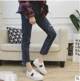 Zapatos usables planos de las correas de las mujeres del cuero genuino de la sutura cruzada del coche