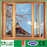 Hölzerne Farben-französisches Aluminiumflügelfenster Windows