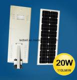 5 años de la garantía LED de calle de la luz 25W de luz de calle solar solar toda en una
