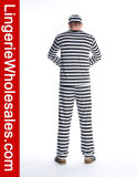 Costume Cosplay Jailbird Halloween пленника людей Striped