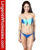 Vêtements de bain sans bretelles sexy de Bandeau de bikini de dames de contraste de Bowknot en deux pièces de couleur