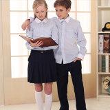 Modificar para requisitos particulares para poseer las camisas del uniforme escolar de los cabritos del algodón de la insignia