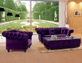 Purpurrotes Samt-Chesterfield-Luxuxsofa Ms-08
