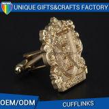 A fonte da fábrica personalizou a tecla gravada metal da luva do botão de punho do chapeamento de ouro