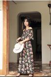 2017 Sommer-Form-Blumendruck-langes Kleid-Chiffon- neue Art-Frauen-Kleider