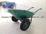 Wheelbarrow plástico da bandeja da ferramenta de jardim da roda dupla (WB5405)
