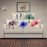 Algodão e linho Almofada de almofada de poliéster de estilo natural Óleo Pintura Almofada de flores