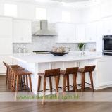 Gabinetes de cozinha brancos do abanador da madeira contínua (WH-D256)