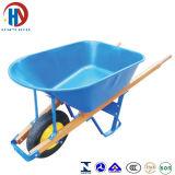 Pintar o Wheelbarrow azul da bandeja