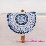 Tovagliolo di spiaggia rotondo del cerchio del cotone con i testi fissi della nappa in commercio all'ingrosso