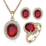 金版925の銀製のリングおよびペンダントの宝石類セット