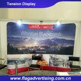 Изогнутая таможня рекламирующ индикацию торговой выставки ткани напряжения